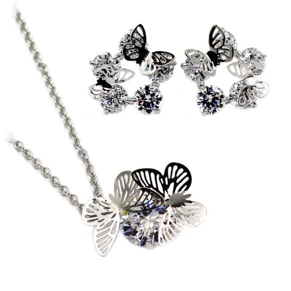 Ocean Fashion Jewelry - Butterflies crystal necklace earrings set